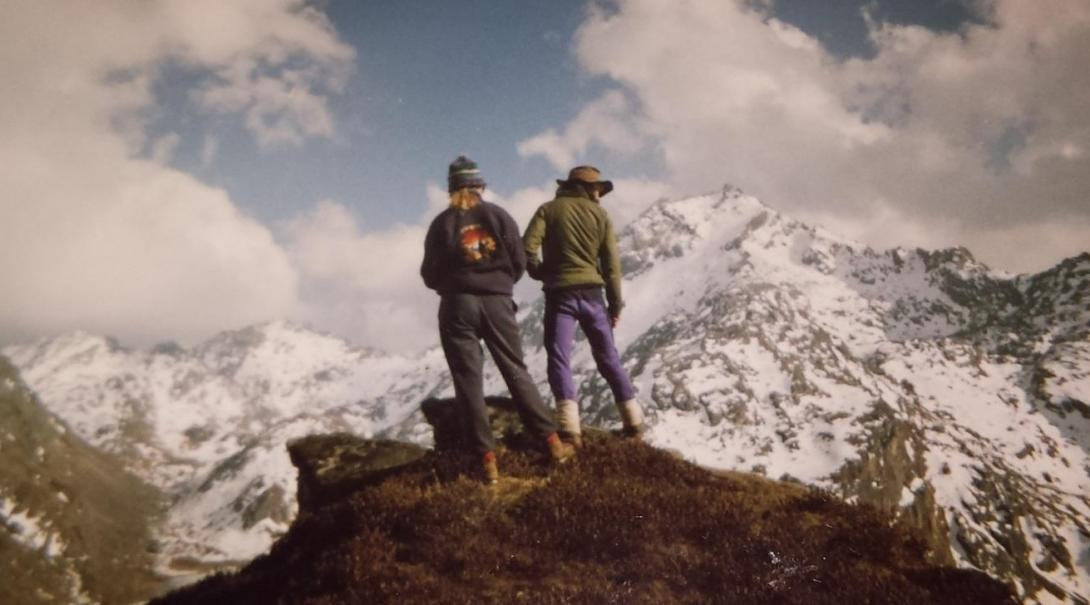 Joanne and a friend in the Himalayan Mountains